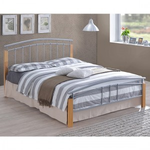 Tetras Metal King Size Bed In Silver And Oak Wooden Frame