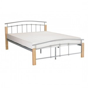 Tetras Metal Single Bed In Beech And Silver