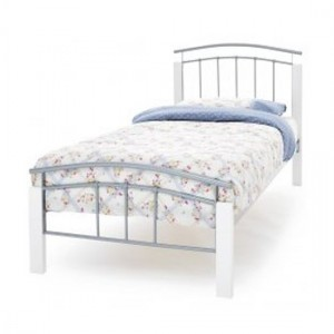 Tetras Metal Single Bed In White And Silver