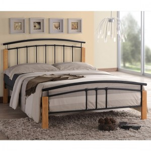 Tetras Metal Small Double Bed In Black And Oak Wooden Frame