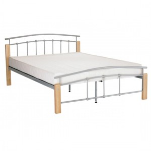 Tetras Wooden Double Bed In Beech With Silver Metal Posts