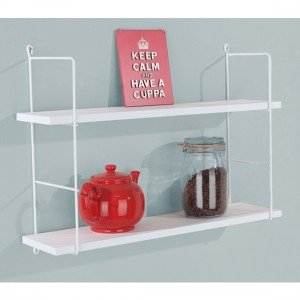 Thames Wooden Double Wall Shelf In White With Wire Uprights