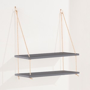 Thames Wooden Rope Wall Double Shelf In Grey
