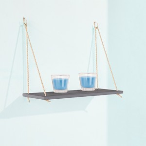 Thames Wooden Rope Wall Single Shelf In Grey