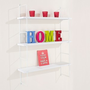 Thames Wooden Triple Wall Shelf In White With Wire Uprights
