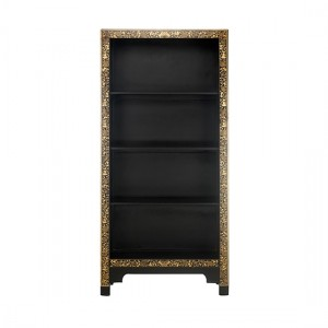 Thenice Oriental Decorated Bookcase In Black And Gold