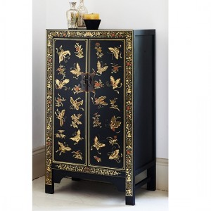 Thenice Oriental Decorated Medium Storage Cabinet In Black And Gold