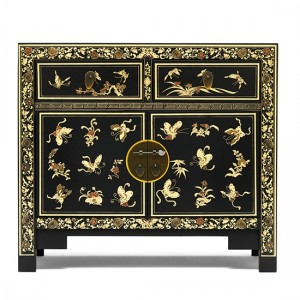 Thenice Oriental Decorated Sideboard In Black And Gold