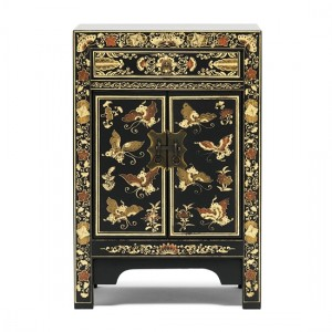 Thenice Oriental Decorated Small Storage Cabinet In Black And Gold