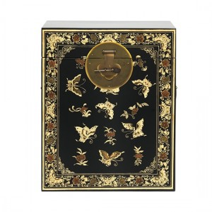 Thenice Oriental Decorated Trunk In Black And Gold