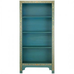 Thenice Oriental Decorated Wooden Bookcase In Blue