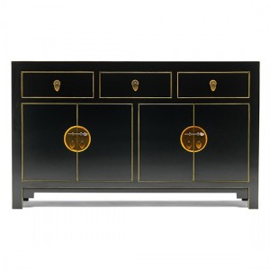 Thenice Qing Large Sideboard In Black And Gold