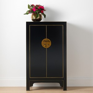 Thenice Qing Medium Storage Cabinet In Black And Gold