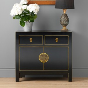 Thenice Qing Small Sideboard In Black And Gold