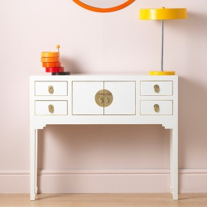 Thenice Qing Wooden Console Table In White