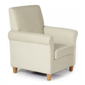 Thurso Cream Fabric Occasional Chair With Oak Wooden Legs