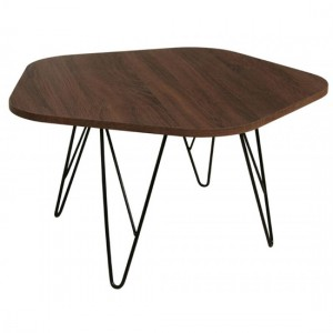Tigris Wooden Coffee Table In Walnut With Black Metal Legs