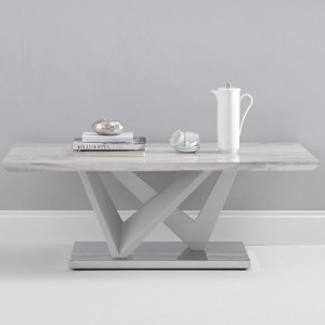 Kelsey High Gloss Marble Effect Coffee Table In Light Grey