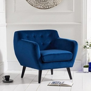 Tina Blue Velvet Bedroom Chair With Black Wooden Legs