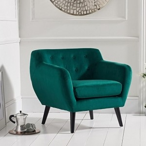 Tina Green Velvet Bedroom Chair With Black Wooden Legs