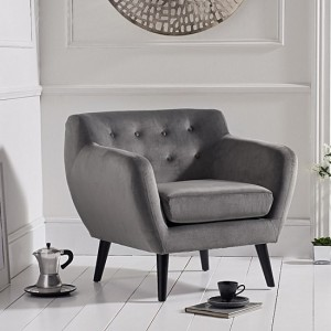 Tina Grey Velvet Bedroom Chair With Black Wooden Legs