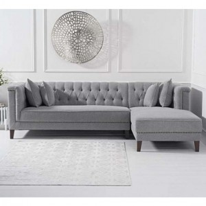 Tino Linen Right Facing Chaise Corner Sofa In Grey