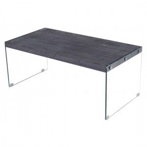 Titan Wooden Coffee Table In Black Walnut With Glass Stands