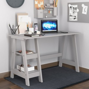 Tiva Wooden Computer Desk In Grey With 2 Shelves