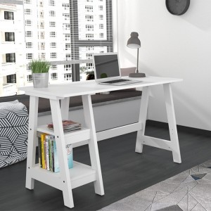 Tiva Wooden Computer Desk In White With 2 Shelves