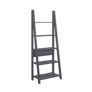 Tiva Wooden Ladder Bookcase In Black