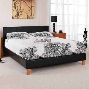 Tivoli Faux Leather Double Bed In Black