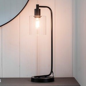 Toledo Clear Glass Table Lamp In Black