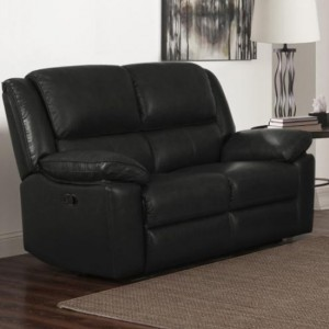 Toledo Faux Leather And PVC Recliner 2 Seater Sofa In Black