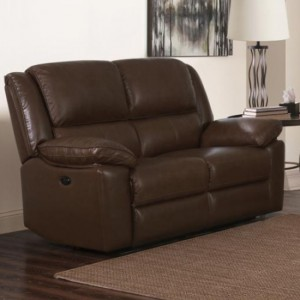 Toledo Faux Leather And PVC Recliner 2 Seater Sofa In Brown