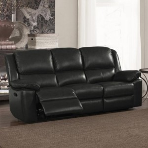 Toledo Faux Leather And PVC Recliner 3 Seater Sofa In Black