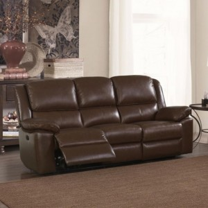 Toledo Faux Leather And PVC Recliner 3 Seater Sofa In Brown