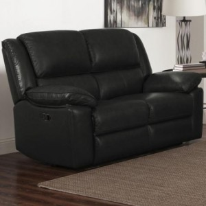 Toledo Leather And PVC Recliner 2 Seater Sofa In Black