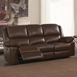 Toledo Leather And PVC Recliner 3 Seater Sofa In Brown