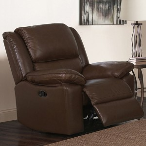 Toledo Recliner Leather And PVC 1 Seater Sofa In Brown