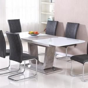 Topaz Extending Glass Top Dining Table In High Gloss White And Stone Effect