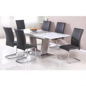 Topaz Extending High Gloss Glass Dining Set With 6 Chairs