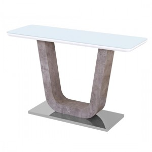 Topaz White Glass Console Table With Stone Effect Base