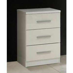 Carola Bedside Cabinet In High Gloss White White With 3 Drawers