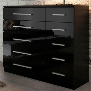 Topline Wooden Chest Of Drawers In Black High Gloss With 10 Drawers