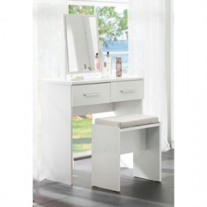 Topline Wooden Dressing Table With Mirror And Stool In White