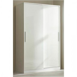Topline Wooden Sliding Wardrobe In White With 2 Doors