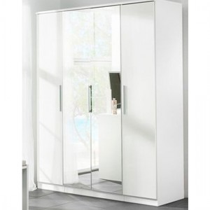 Topline Wooden Sliding Wardrobe In White With 4 Doors And Mirror