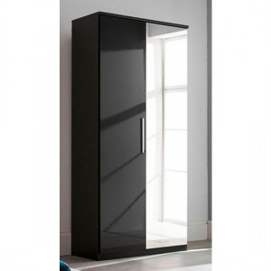 Topline Wooden Wardrobe In Black High Gloss With 2 Doors And Mirror