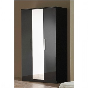 Topline Wooden Wardrobe In Black High Gloss With 3 Doors And Mirror