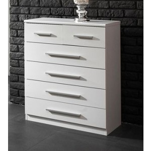 Carola Chest Of Drawers In White High Gloss With 4+2 Drawers